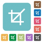 Flat crop tool icons on rounded square color backgrounds. - Flat crop tool icons