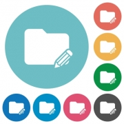 Flat edit folder icon set on round color background. - Flat edit folder icons