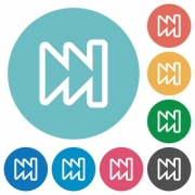 Flat media fast forward icon set on round color background. - Flat media fast forward icons