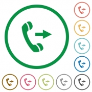Set of outgoing call color round outlined flat icons on white background - Outgoing call outlined flat icons