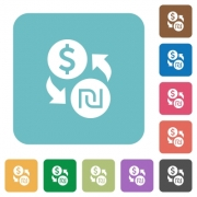 Flat Dollar new Shekel exchange icons on rounded square color backgrounds. - Flat Dollar new Shekel exchange icons