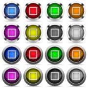 Media stop color glass buttons in metal frames - Media stop glossy buttons