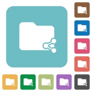 Flat share folder icons on rounded square color backgrounds. - Square share folder flat icons