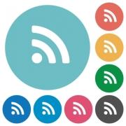 Flat radio signal icon set on round color background. - Flat radio signal icons