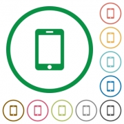 Smartphone flat color icons in round outlines - Smartphone flat icons with outlines