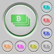 Bitcoin banknotes color icons on sunk push buttons - Bitcoin banknotes push buttons