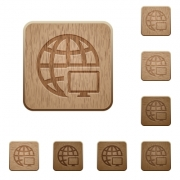 Remote terminal icons in carved wooden button styles - Remote terminal wooden buttons