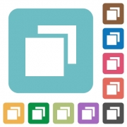 Overlapping elements flat icons on color rounded square backgrounds - Overlapping elements flat icons