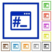 OS root terminal flat color icons in square frames - OS root terminal flat framed icons