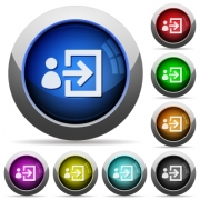 User login icons in round glossy buttons with steel frames - User login glossy buttons