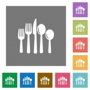 Cutlery flat icons on simple color square background. - Cutlery square flat icons