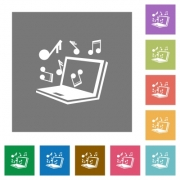 Laptop music flat icons on simple color square background. - Laptop music square flat icons