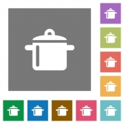Cooking flat icons on simple color square background. - Cooking square flat icons