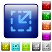 Resize element color glass rounded square button set - Resize element color square buttons
