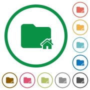 Home folder flat color icons in round outlines - Home folder flat icons with outlines