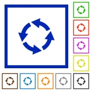 Rotate left flat color icons in square frames - Rotate left flat framed icons