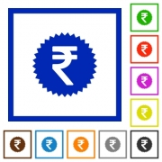 Indian Rupee sticker flat color icons in square frames - Indian Rupee sticker flat framed icons