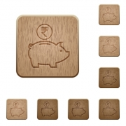 Indian Rupee piggy bank icons in carved wooden button styles - Indian Rupee piggy bank wooden buttons