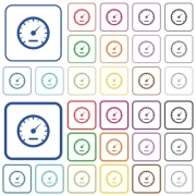 Speedometer color icons in flat rounded square frames. Thin and thick versions included. - Speedometer color outlined flat icons