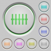 Graphical equalizer color icons on sunk push buttons - Graphical equalizer push buttons