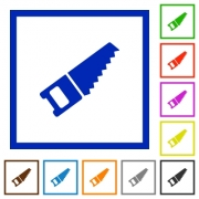 Hand saw flat color icons in square frames - Hand saw flat framed icons