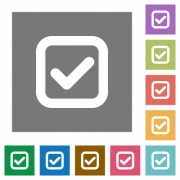 Checkbox flat icons on simple color square background. - Checkbox square flat icons