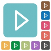 Media play white flat icons on color rounded square backgrounds - Media play flat icons