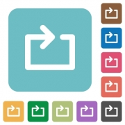 Media loop white flat icons on color rounded square backgrounds - Media loop flat icons