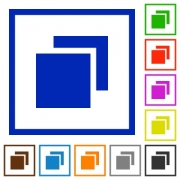 Overlapping elements flat color icons in square frames - Overlapping elements flat framed icons