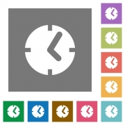 Clock flat icons on simple color square background. - Clock square flat icons