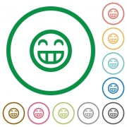 Laughing emoticon flat color icons in round outlines - Laughing emoticon flat icons with outlines