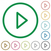 Media play flat color icons in round outlines - Media play flat icons with outlines