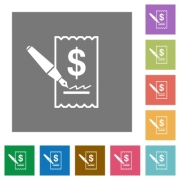 Cheque signing flat icons on simple color square background. - Cheque signing square flat icons
