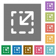 Resize element flat icons on simple color square background. - Resize element square flat icons