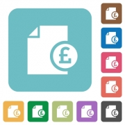 Pound report white flat icons on color rounded square backgrounds - Pound report flat icons