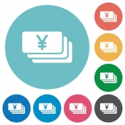 Yen banknotes white flat icons on color rounded square backgrounds - Yen banknotes flat icons