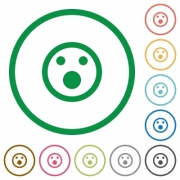 Shocked emoticon flat color icons in round outlines - Shocked emoticon flat icons with outlines