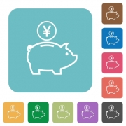 Yen piggy bank white flat icons on color rounded square backgrounds - Yen piggy bank flat icons