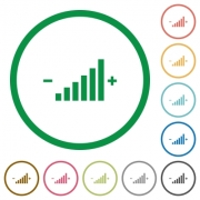 Control element flat color icons in round outlines - Control element flat icons with outlines