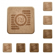 Israeli new Shekel coins icons in carved wooden button styles - Israeli new Shekel coins wooden buttons