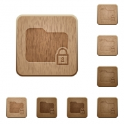 Lock folder icons in carved wooden button styles - Lock folder wooden buttons