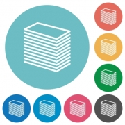 Paper stack white flat icons on color rounded square backgrounds - Paper stack flat icons