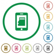Smartphone memory flat color icons in round outlines - Smartphone memory flat icons with outlines