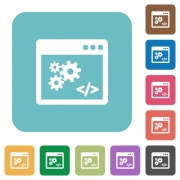 Application programming interface white flat icons on color rounded square backgrounds - Application programming interface flat icons