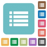 Unordered list white flat icons on color rounded square backgrounds - Unordered list flat icons