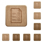 Questionnaire document icons in carved wooden button styles - Questionnaire document wooden buttons