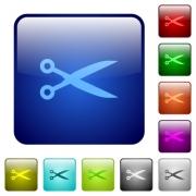 Cut color glass rounded square button set - Cut color square buttons