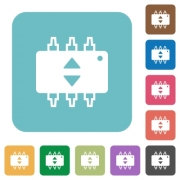 Hardware fine tune flat icons on simple color square background. - Hardware fine tune square flat icons