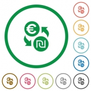 Euro new Shekel exchange flat color icons in round outlines - Euro new Shekel exchange flat icons with outlines