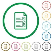Questionnaire document flat color icons in round outlines - Questionnaire document flat icons with outlines